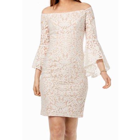 Women's Dress Sheath Lace Off Shoulder Bell Sleeve 6 Lace Jacket & Gathered Dress