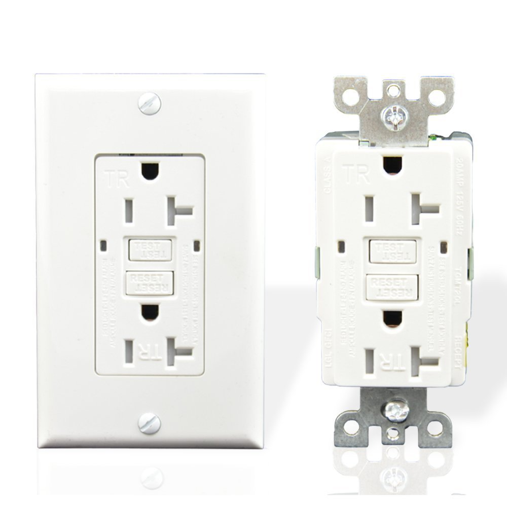 Houseables GFCI Outlet Receptacle, 20 Amp, 1 Single, Tamper Resistant, Nylon Faceplate Wall Plate, 2 LED Power Indicators, 120/125V, UL2008, Ground Fault Circuit Interruptor, GFI, White, Duplex