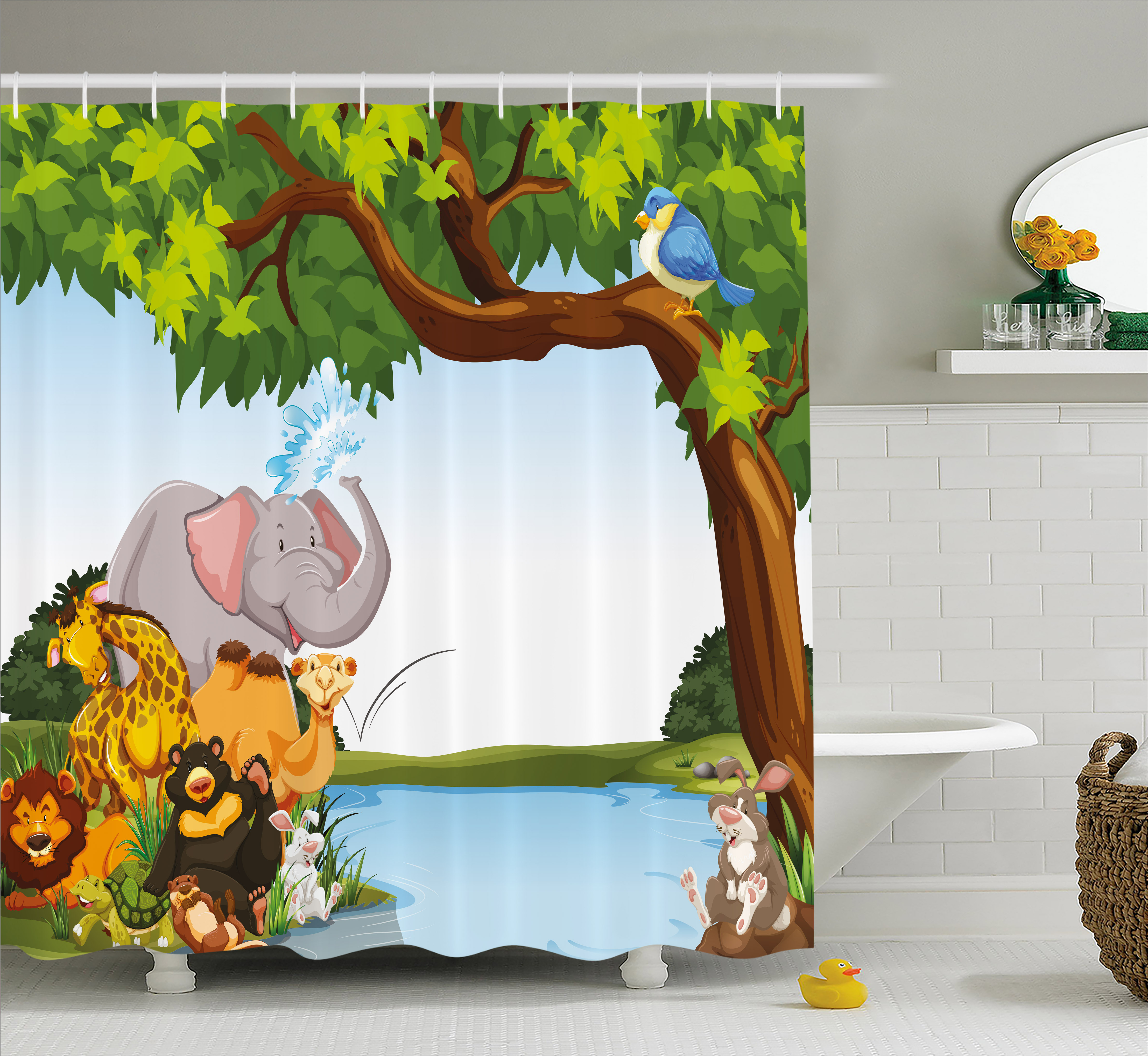 Kids Shower Curtain, Various Cartoon Style Animals Togeth...