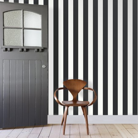 RoomMates Awning Stripe Black Peel & Stick Wallpaper
