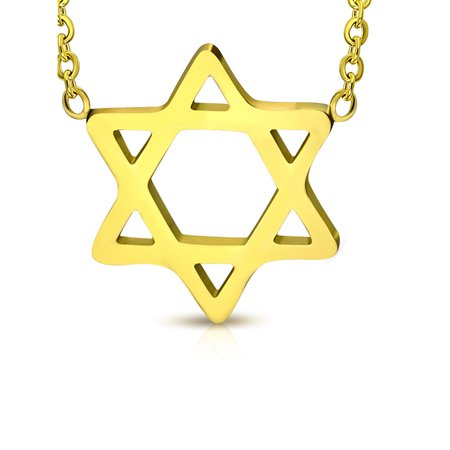 David Yurman Gold Necklace (Stainless Steel Yellow Gold-Tone Jewish Star of David Pendant Necklace, 18