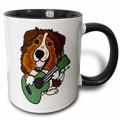 Zoomie Kids Syracuse Funny Cute Australian Shepherd Dog Playing Guitar Coffee Mug