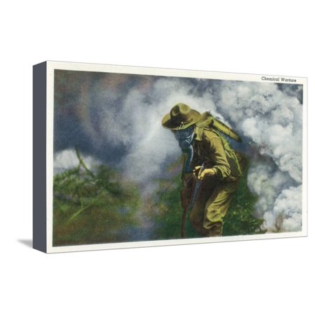 US Army - Soldier in Gas Mask, Chemical Warfare Stretched Canvas Print Wall Art By Lantern Press ()