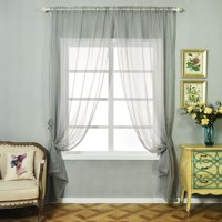 BalsaCircle 2 pcs 52 x 108-Inch Sheer Organza Curtains Drapes Panels Window Treatments - Home Decorations