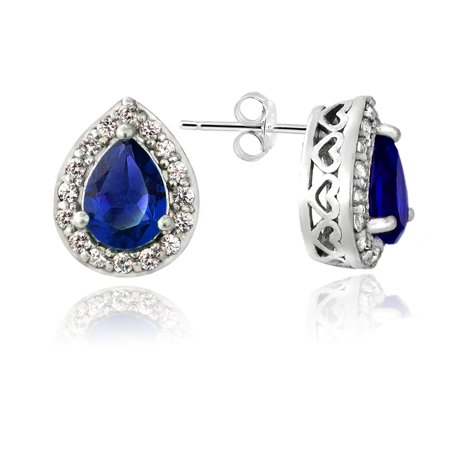 Sterling Silver Created Blue & White Sapphire Teardrop Stud Earrings Blue Sapphire Drop Earrings