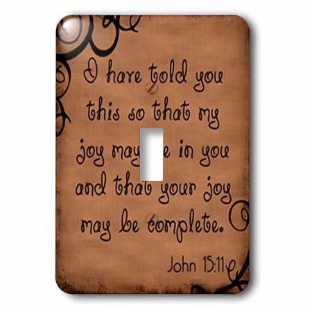 3dRose Bible Verse John 15-11 Brown Background Bible Christian Inspirational Saying, Single Toggle Switch