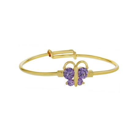 18k Gold Plated Purple Crystal Butterfly Adjustable Bangle Baby Girls Bracelet