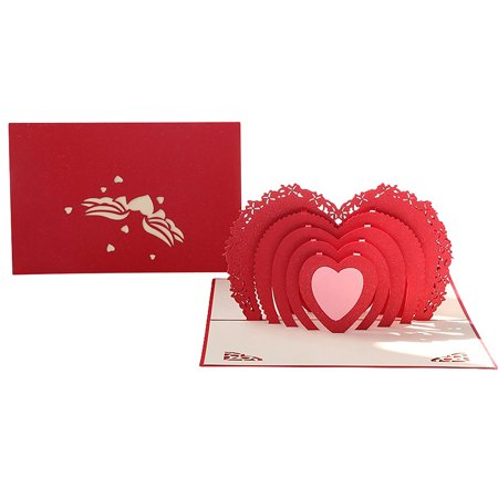 Heart Pop Up Card For Valentines Day 3D Lover Romance Cute Couple Wedding Birthday To Write Your