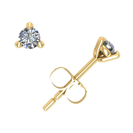 0.15CT Round Diamond Martini Stud Earrings 14k Yellow Gold 3Prong Push Back GH I1