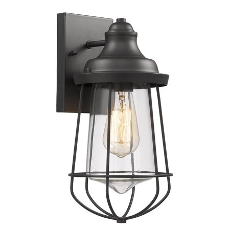 Tall Lighting Sconce (CHLOE Lighting LUCAS Industrial-style 1 Light Textured Black Outdoor/Indoor Wall Sconce 12