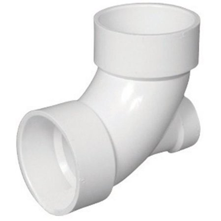 Charlotte Pipe & Foundry PVC003030600HA 90 deg PVC 0.25 Bend with Low Heel Inlet Elbow, 3 x 1.5 in. - image 1 of 1