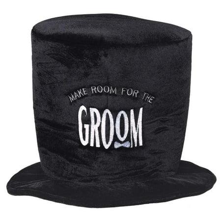 Groom To Be Plush Mens Adult Wedding Plush Velour Black Top Hat