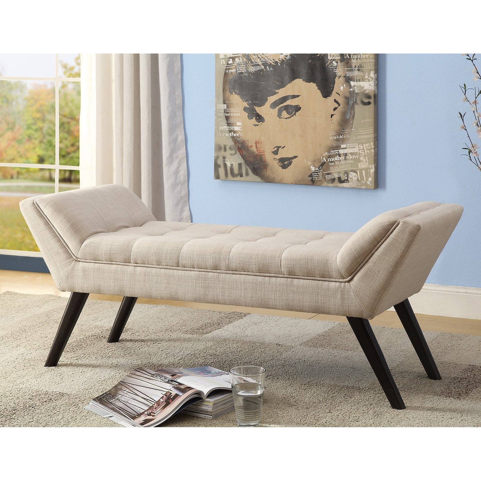 "Baxton Studio Tamblin Beige Linen Fabric Upholstered 50"" Bench"