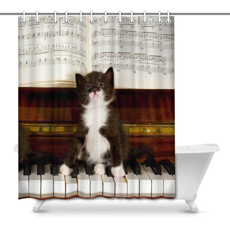 POP Small Kittens Sit on Keys of The Piano Art Shower Curtain 66x72 inch - image 1 of 1