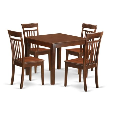 Small Kitchen Table Set with One Oxford Dining Room Table & Four Chairs,  Mahogany - 5 Piece