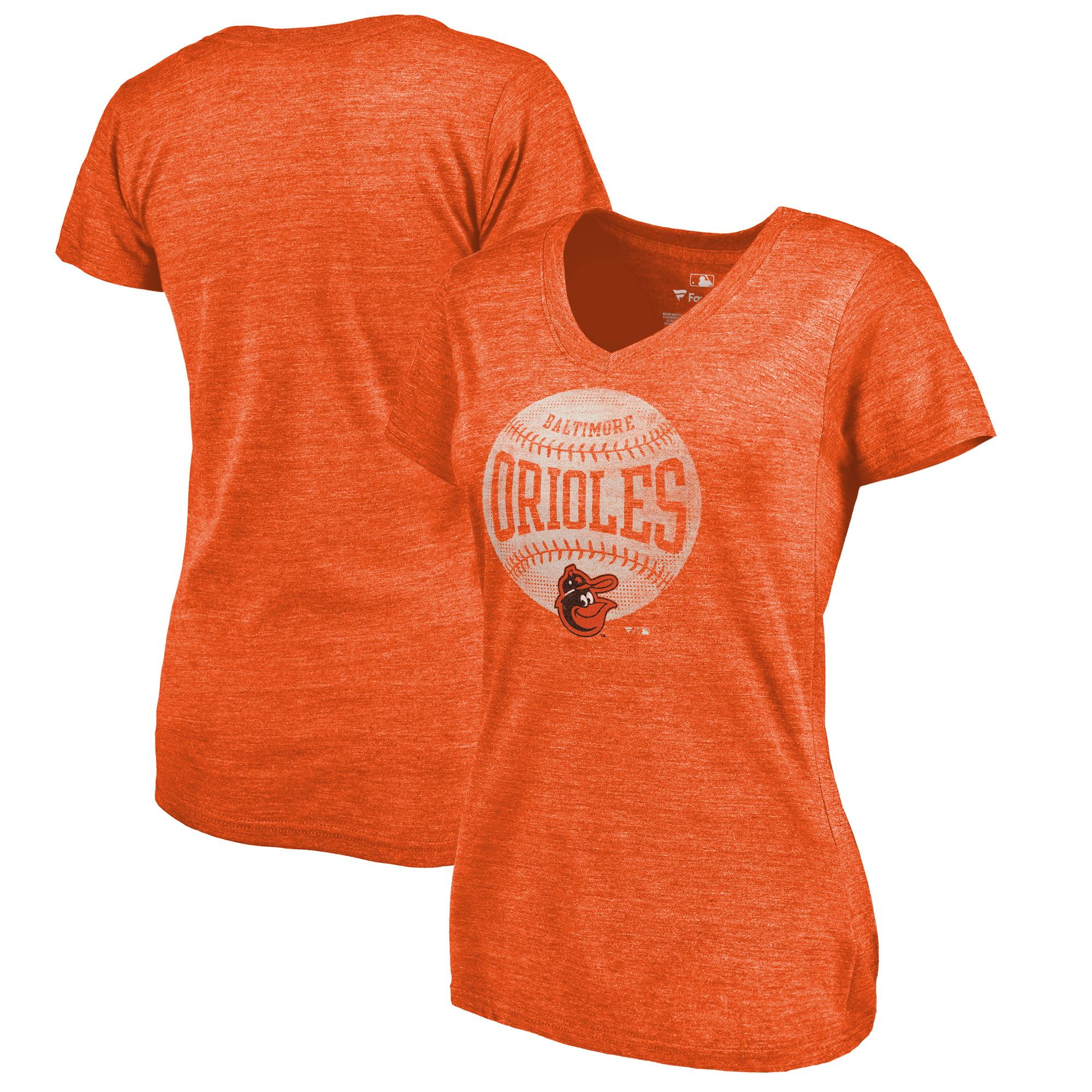 Baltimore Orioles Fanatics Branded Women's Cooperstown Collection Slider Tri-Blend V-Neck T-Shirt - Heathered Orange