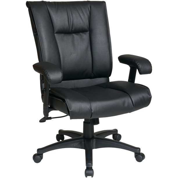 Office Star, OSPEX93813, EX9381 Deluxe Leather Mid-Back Chair, 1 Each, Black