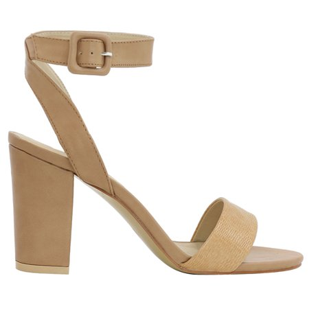 Unique Bargains Women s Textured Vamp Chunky Heel Ankle Strap Sandals Brown  (Size 5.5) ...