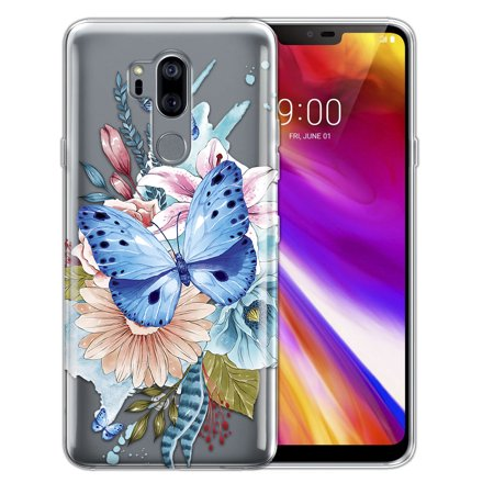 FINCIBO Soft TPU Clear Case Slim Protective Cover for LG G7 ThinQ G710, Watercolor Blue Butterfly (Flower That Looks Like A Black Eyed Susan)