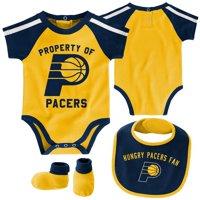 Indiana Pacers Newborn & Infant Rebound Bodysuit, Bib & Booties Set - Navy/Gold