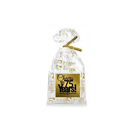 CakeSupplyShop Item#075CTC 75th Birthday / Anniversary Cheers Metallic Gold & Gold Swirl Party Favor Bags with Twist Ties (75th Birthday Party Supplies)