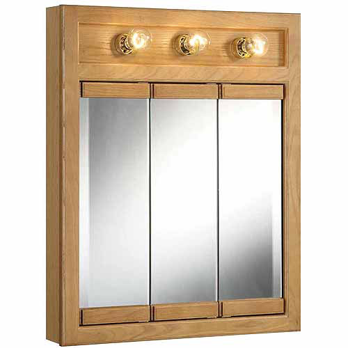 Design House 530592 Richland Nutmeg Oak Lighted Tri-View Wall Cabinet Mirror with 3 Doors
