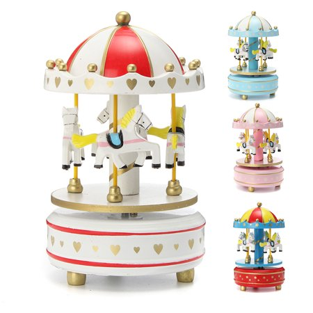Kids Birthday New Year Gift Wooden Horse Rotating Music Box Mechanical Musical Carousel  Home Room Decoration 4.1x6.9""