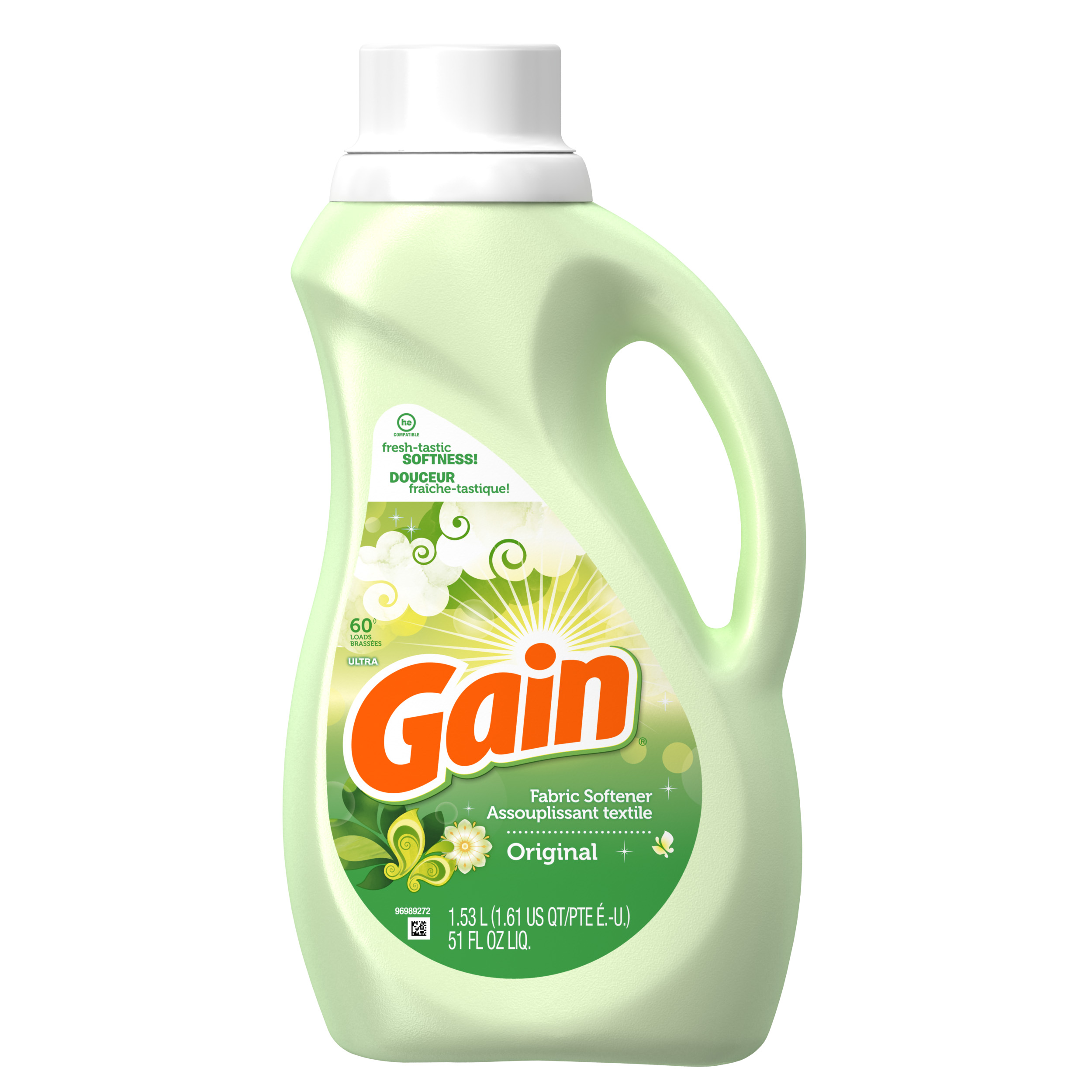 Gain Liquid Fabric Softener, Original Scent, 60 loads, 51oz