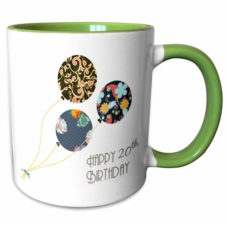3dRose Happy 20th Birthday - Modern stylish floral Balloons. Elegant black brown blue 20 year old Bday - Two Tone Green Mug,