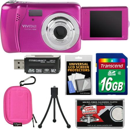 Vivitar ViviCam VXX14 Selfie Digital Camera (Pink) with 16GB Card + Case + Tripod + Reader + Kit Stylus Pink Digital Camera