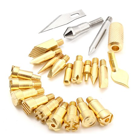 22pcs Replacement Wood Burning Pen Tips Stencil Soldering Iron Pyrography Tool Tips Set Hobby Craft Kit Working Carving for 30W Wood Burning Pen](Hobby Wood)
