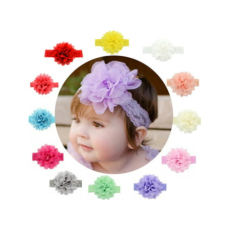 Baby Headband, Coxeer Baby Girls Ribbon Hair Bows Clips Lace Flower Headbands For Girls Kids 12 Pcs - Flower Crochet Headband