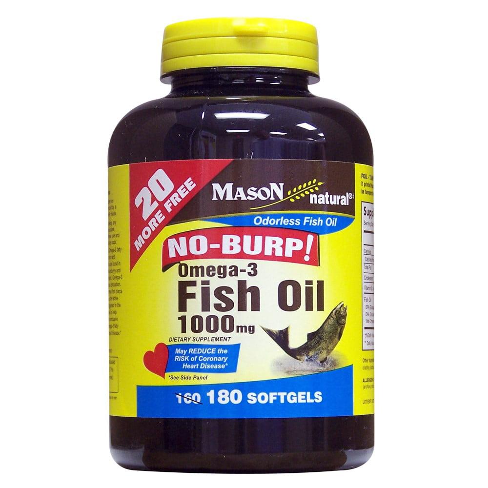 Mason Natural Omega-3 Fish Oil No-Burp! Softgels, 1000 Mg, 180 Ct