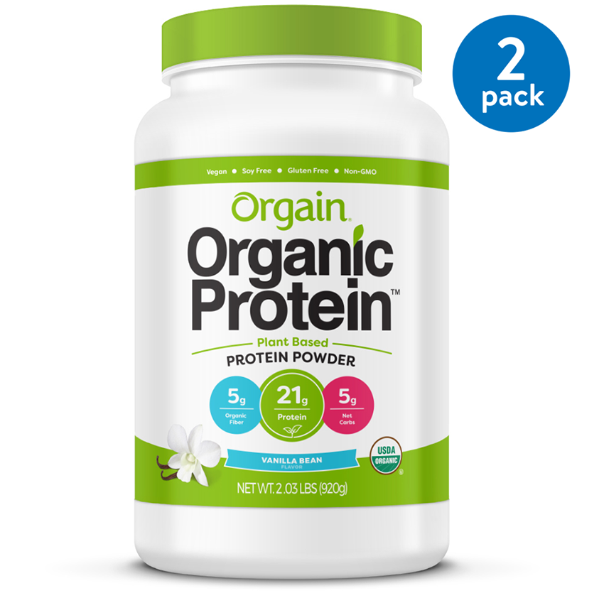 (2 Pack) Orgain Organic Vegan Protein Powder, Vanilla, 21g Protein, 2.0 Lb