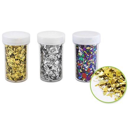 Quasimoon Gold, Silver, Multi-Color Confetti Flakes Shaker Jars DIY (3-PACK) by PaperLanternStore