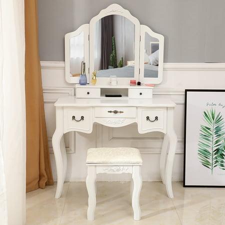 Zimtown Folding Mirror Black Wood Vanity Set Makeup Table Dresser 5 Drawers + Stool (White)