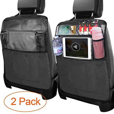 2 Pack Child Kick Mats, Waterproof Auto Car Seat Kick Protector Back Seat Covers Kick Guard Mats Baby Kids Vehicle Car Backseat Organizer w/ Multi Storage Pockets Protect Car From Dirt Mud Scratches (Kids Car Organizer)