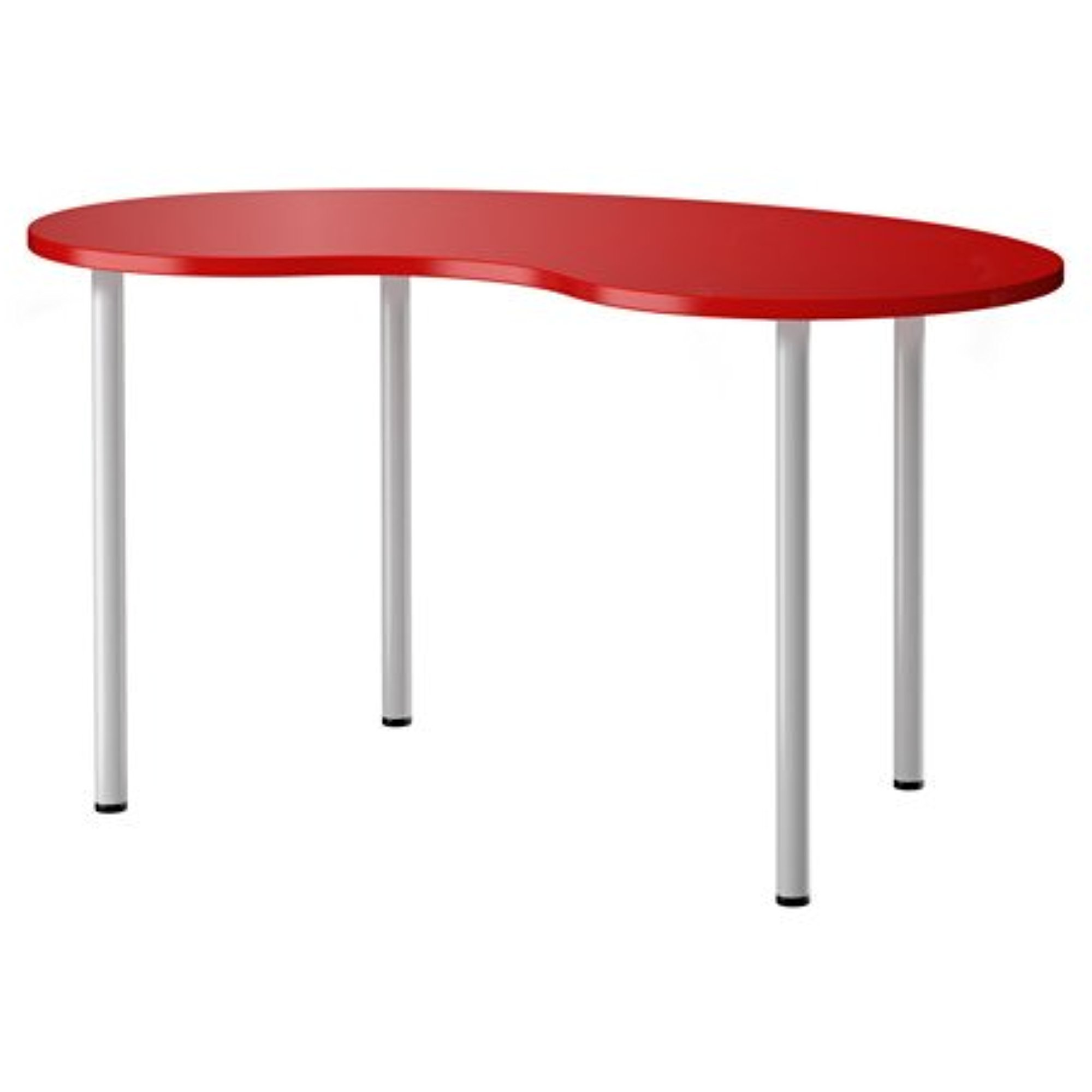Ikea Computer Table, cashew shape red, silver color 55 1/...