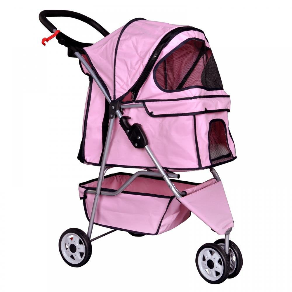 New Pink Pet Stroller Cat Dog Cage 3 Wheels Stroller Travel Folding Carrier T13 by