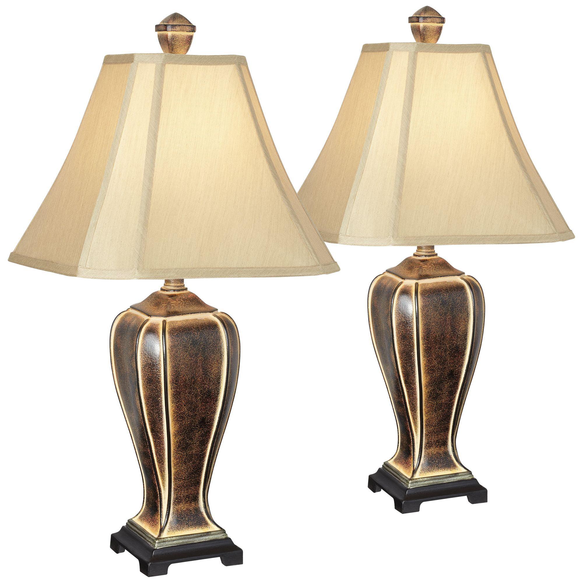 Regency Hill Traditional Table Lamps Set Of 2 Desert Crackle Gold Jar Taupe Faux Silk Bell Shade For Living Room Family Bedroom Walmart Com Walmart Com