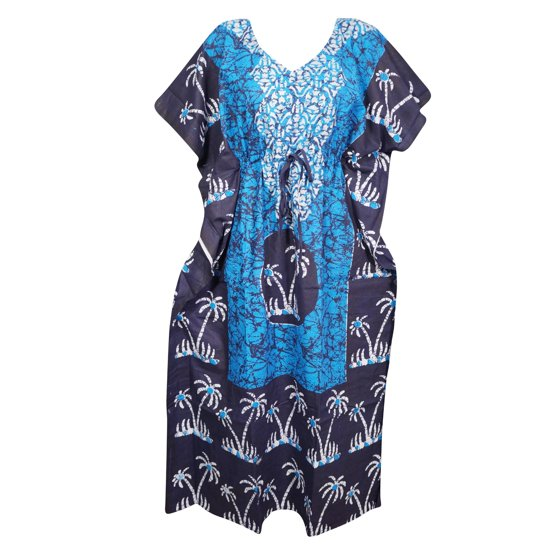 4a462700b6 Mogul 4PC Womens Cotton Kimono Caftan Printed Beach Cover up Resort Wear  Summer Style Maxi Kaftan Dress 4XL