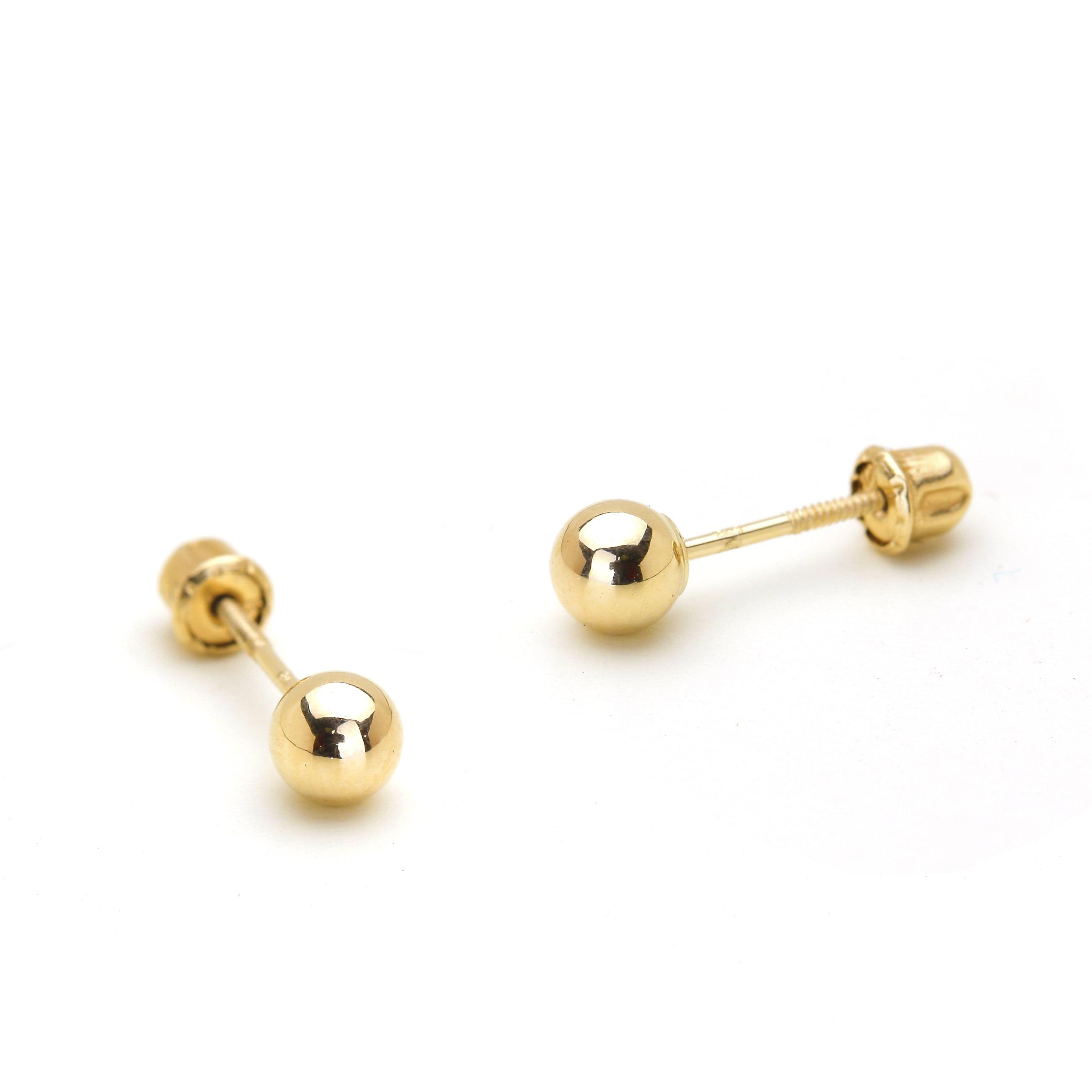 Women Girl 14K Yellow Gold Multi White Crystal Ball Stud Earrings Screwback