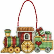 "Susan Winget Train Ornament Counted Cross Stitch Kit, 3, 3/4"" x 2-1/4"", 14-count Plastic Canvas"
