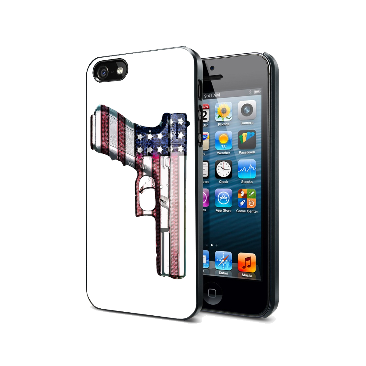 KuzmarK Black Cover Case fits iPhone SE & iPhone 5 - American Flag Gun Rights