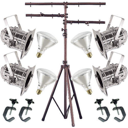 4 Silver PAR CAN 38 120w BR40 Flood C-Clamp 12ft Stand