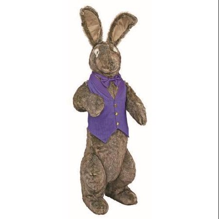 Bunny Vest (4.5' Large Standing Bunny Rabbit in Purple Vest and Bow Stuffed)