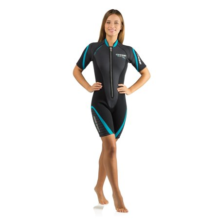 Shorty Women's Wetsuit for Scuba Diving, Snorkeling, Windsurfing - 2.5mm Neoprene | PLAYA by Cressi: quality since 1946 Black/Aqua Flex Neoprene 3mm