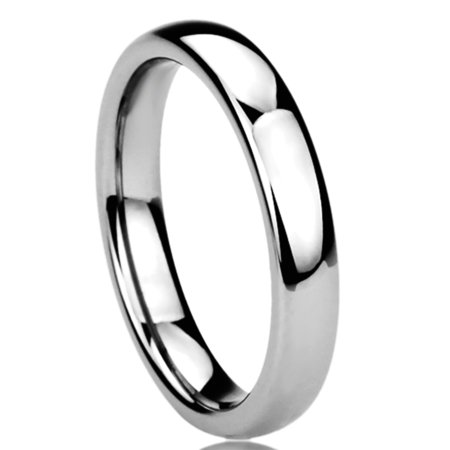 Women's 4MM Titanium Comfort Fit Wedding Band Ring High Polished Classy Domed Ring (5 to 11) Domed Titanium Wedding Band
