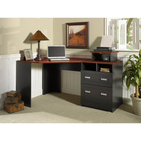 Bush Furniture Wheaton Reversible Corner Desk with File Drawers, Multiple (One Hole Corner)