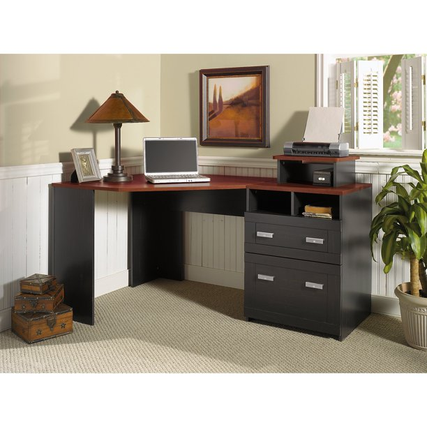 Bush Furniture Wheaton Reversible Corner Desk with File Drawers, Antique Black